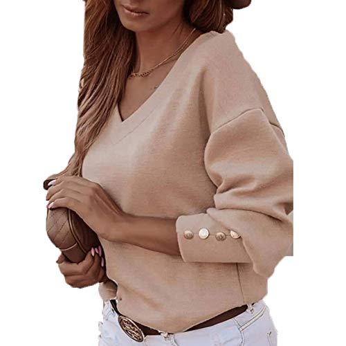2020 otoño e Invierno Nuevo botón de Color sólido de Manga Larga con Cuello en V Camiseta de Mujer