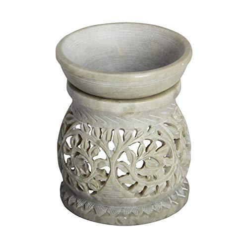 Casa Moro Orientalische Duftlampe Shakir-1 aus Soapstone geschnitzt 10x10x11 cm (B/T/H) ätherisches Öl Diffusor, Teelicht-Halter für Aromatherapie, Handmade Aromalampe | SL3010