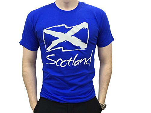 Fruit van de Loom Mens Schotse Saltire Vlag Royal Blue T-shirt met tags