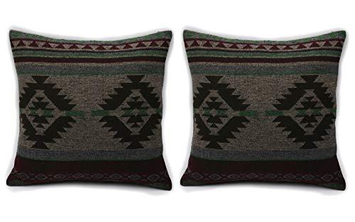 Ruth&Boaz Inka Pattern Square Decor Pillow Case Cushion Cover (L-Green Set of 2, 18\'x18\')