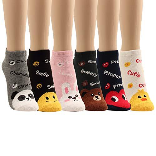 Niedrig geschnittene Socken für Katzen, Hunde, Schweinchen, niedliches Tier-Design, für Damen, Teenager, Mädchen, 5 Paar - - Einheitsgröße