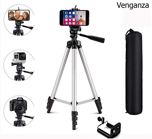 Venganza Adjustable Aluminium Alloy Tripod Stand Holder for Mobile Phones & Camera, 360 mm -1050 mm, 1/4 inch Screw +...