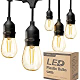 addlon LED Outdoor String Lights 48FT with 2W Dimmable Edison Vintage Plastic...