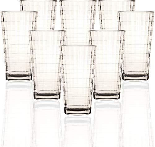 Circleware Matrix Set of 8 Heavy Base Highball Tumbler Drinking Glasses 1575 oz Beverage Ice Tea Cups for Water Juice Milk Beer Farmhouse Decor
