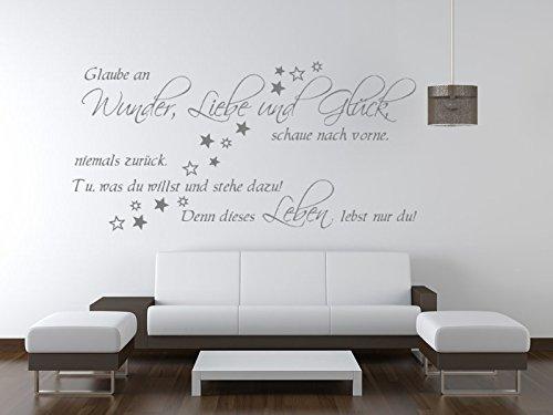 timalo® Wandtattoo Wohnzimmer Wandtatoo Aufkleber Spruch Glaube an Wunder Liebe und Glück 1pt2-TK03 (B 130cm x H 58cm)