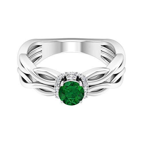 Rosec Jewels 14 quilates oro blanco redonda Green Emerald Diamond