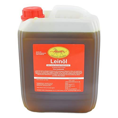 Horse-Direkt Premium Leinöl 5 Liter Kanister Für Pferde, Hunde & Katzen- Leinsamenöl Kaltgepresst Zum Barfen Für Das Tier - Natürlicher Futterzusatz Zur Unterstützung