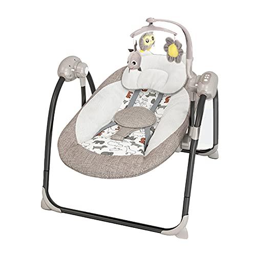 Bujak dla niemowląt-małych dzieci, przenośny fotelik dla dziecka, huśtawka z pięcioma prędkościami Wbudowany pilot do muzyki Zdejmowane zabawki Kompaktowe składanie do przechowywania lub