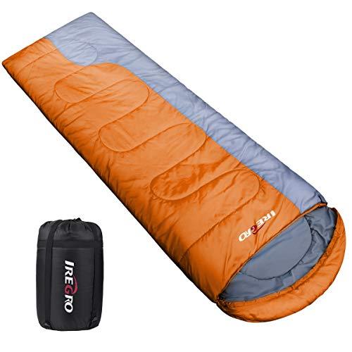 IREGRO Schlafsack, 1KG Leicht Camping Schlafsack Deckenschlafsack, Kompakt Wasserdicht Warm, Perfekt Outdoor Sleeping Bag für Erwachsene Kinder Camping Wandern Sommerlager, 220 X 80cm (Orange)