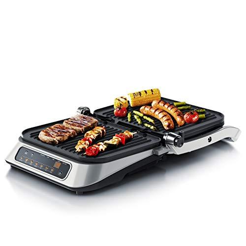 Arendo - Kontaktgrill Elektrogrill - elektrischer Tischgrill - Sandwichmaker - Multi Grill mit Digitalsteuerung 1900 W - 7 Programme - Leicht Reinigung durch abnehmbare Platten - Edelstahl
