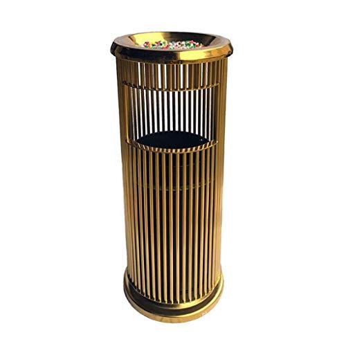 Haushalt abfalleimer Edelstahl-Mülleimer mit innerem Fass-stehendem Aschenbecher-Eimer-Abfalleimer-Hotel-Badezimmer-Büro-Papierkorb im Freien mülleimer (Color : Gold)
