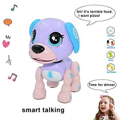 amdohai Interactive Puppy - Smart Pet, Electronic Robot Dog Toys for Age 3 4 5 6 7 8 Year Old Girls, Gifts Idea for Kids ? Voice Control?Intelligent Talking (Purple)