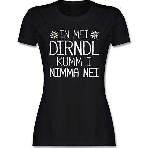 Oktoberfest & Wiesn Damen - In MEI Dirndl kumm i nimma nei weiß - L - Schwarz - T-Shirt - L191 - Tailliertes Tshirt für Damen und Frauen T-Shirt
