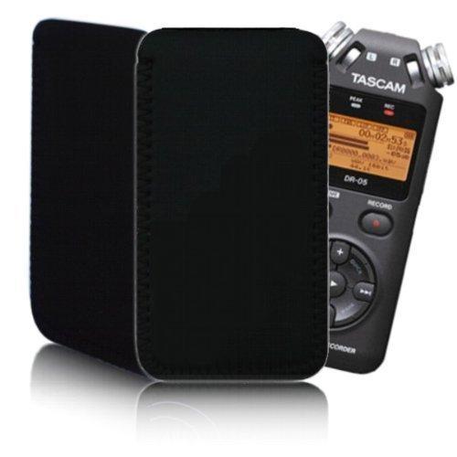 Bizebee - Custodia in neoprene per lettore portatile registratore vocale TASCAM DR-05, DR-08, DR-07, Olympus LS-20, impermeabile e antiurto, colore: Nero