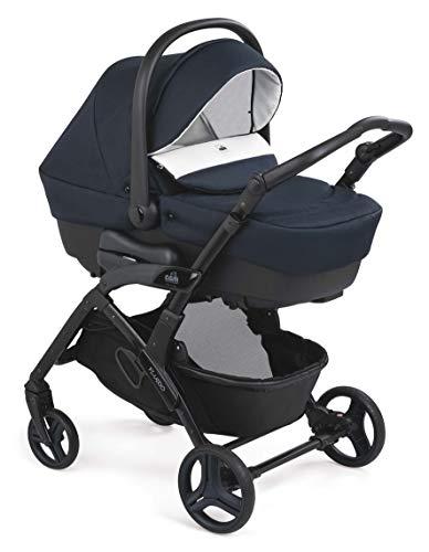 CAM 3 in 1 Kombi-Kinderwagen FLUIDO EASY | Hochwertige Materialien | inkl. Babyschale, Babywanne, Sportwagen, Körbchen und Tasche | Der Allrounder made in Italy (blu)