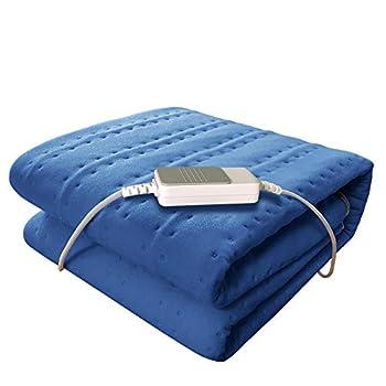 YXS Couverture chauffante Sunbeam, Taille 60x30 po, Chauffage Rapide, Micro Peluche/Doux au Toucher, Chaud pour Un Confort Ultime,Bleu