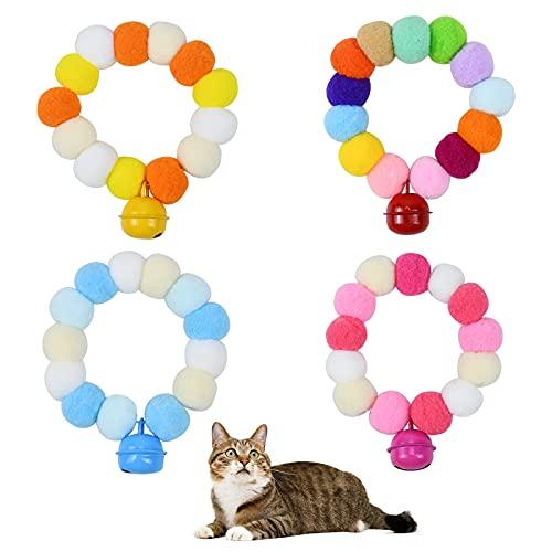 4 Pezzi Collare Gatto, 35CM Collare per Gatto con Campanellini, Collare Gatto Sgancio Rapido, Collare Elastica Sicurezza, Gatti Pompon Colletto a Sfera Adatto alla Maggior Parte dei Gatti