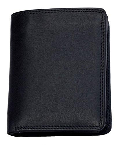 Hochwertige schwarz Lederportemonnaie HMT mit Stofffutter mit Inner Abteilung für Banknoten aus Leder