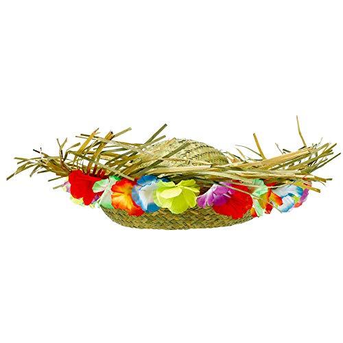 "Amscan 392105 Floral Trim Party Straw Hat, 14"" x 4.5"", Multi Color"