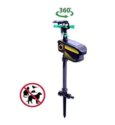 Tenive Solar Powered Motion Activated Sprinkler Outdoor Garden Water Jet Blaster Animal Pest Repeller (Batteries Included)