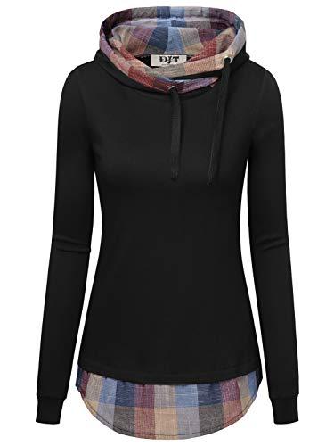 DJT Damen Kapuzenpullover T-Shirt Kurzarm Ladies Kurzarm Jersey Hoody Schwarz-Farbblock L