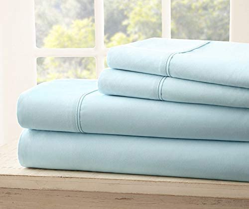 Queen Size Royal Collection 1900 Thread Count Bamboo Quality Bed Sheet Set with 1 Fitted, 1 Flat and 2 Standard Pillow Case.Wrinkle Free Shrinkage Free Fabric, Deep Pockets (Aqua/ Light Blue)