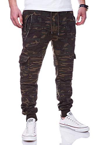 behype. Herren Cargo Sporthose Trainingshose Biker Hose 60-2134 (M, Camouflage-Khaki)