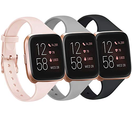 Tobfit Pack 3 Slim Bands Compatible with Fitbit Versa 2 Bands/Fitbit Versa/Fitbit Versa Lite/SE, Silicone Replacement Smartwatch Wristband for Women Men, Small, Black/Gray/Pink Sand