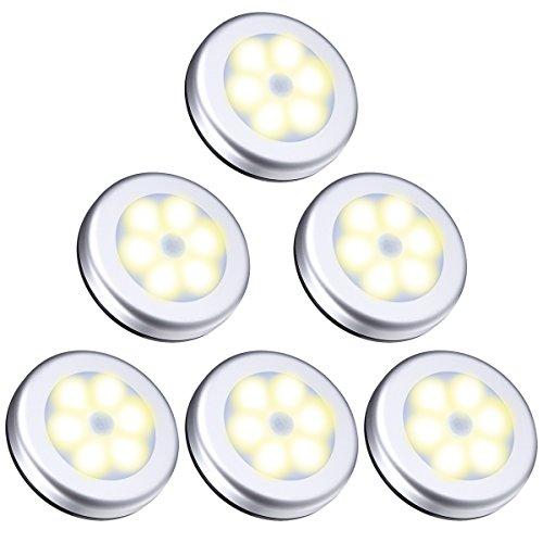 ORIA Nachtlicht mit Bewegungsmelder, 6 LED Bewegungsmelder Licht Schranklicht, Indoor NachtLicht Schrankbeleuchtung, Auto EIN/AUS Licht Sensor Licht Für Flur, Treppen, Bad, Schlafzimmer, Küche-Gelb