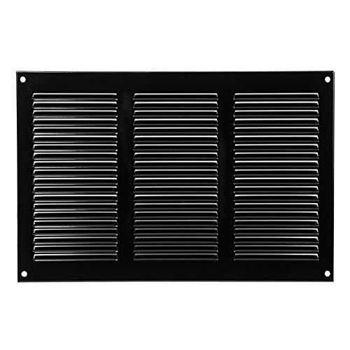 300x200mm Schwarz Lüftungsgitter mit Insektenschutz Abluftgitter Wetterschutzgitter Abluft Zuluft Metall Gitter