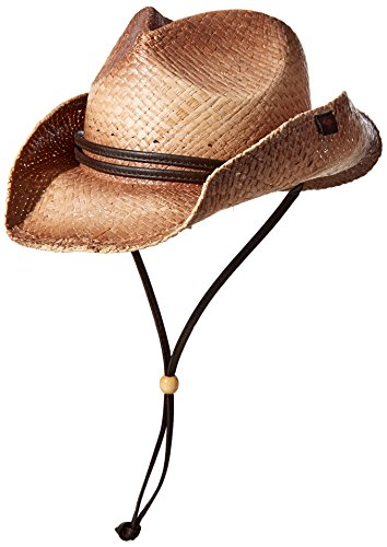 Peter Grimm Straw Round Up Cowboy Hat w/Leather Strap (Tea Stained)