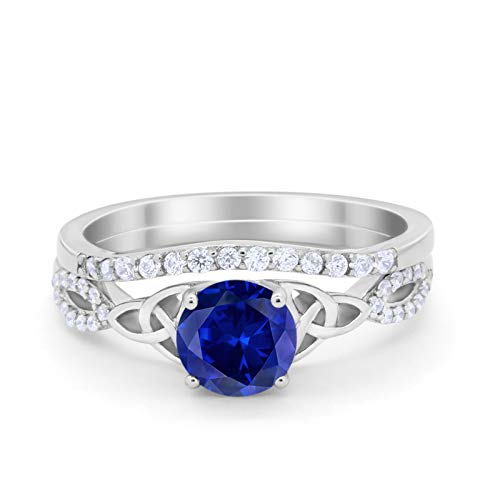 Celtic Engagement Bridal Set Ring Band Round Simulated Blue Sapphire Cubic Zirconia 925 Sterling Silver Size-9
