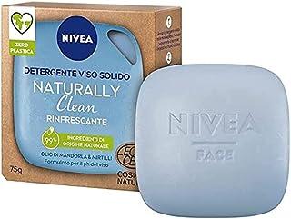 NIVEA Detergente Viso Solido Naturally Clean Rinfrescante Con Olio Di E Mirtilli 75gr, Mandorla