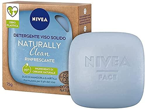 Nivea Detergente Viso Solido Naturally Clean Rinfrescante Con Olio Di Mandorla e Mirtilli 75gr
