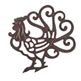 Aunt Chris' Products - Heavy Cast Iron - Rooster Trivet with Elegant Scroll work - With A Vintage Design - Beautiful enough to leave out on your counter top and useful enough for daily use!