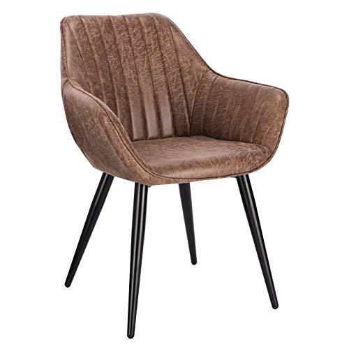 WOLTU BH255br-1 1 Stück Esszimmerstuhl Wohnzimmerstuhl Küchenstuhl mit Armlehne aus Kunstleder Metallbeine Antiklederoptik Braun