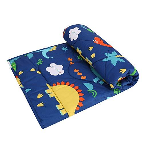 JISEN - Morbida coperta per culla e culla per bambini e ragazze, in cotone, 1 confezione da 1 coperta per culla trapunta, copriletto, coperta leggera, 90 x 122 cm, motivo: dinosauro blu