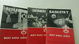 3 Volumes of Merit Badges Series (Boy Scouts of America): Bookbinding; Basketry; Swimming