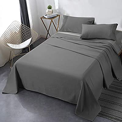 """Secura Everyday Luxury California King Bed Sheet Set 4 Piece - Soft Microfiber 1800 Thread Count 16"""" Deep Pocket Sheet Sets - Hypoallergenic, Wrinkle & Fade Resistant (Gray)"""
