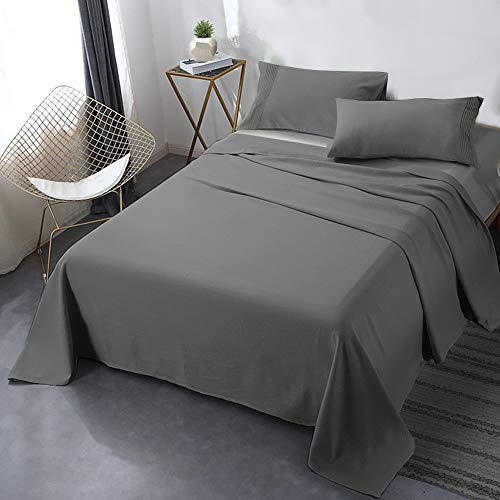 """Secura Everyday Luxury King Bed Sheet Set 4 Piece - Soft Microfiber 1800 Thread Count 16"""" Deep Pocket Sheet Sets - Hypoallergenic, Wrinkle & Fade Resistant (Gray)"""