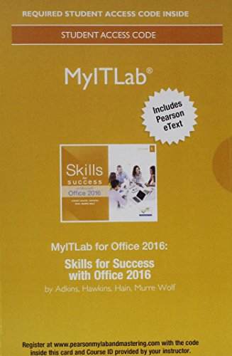 Mylab It with Pearson Etext -- Access Card -- For Skills for Success with Office 2016 (Myitlab)