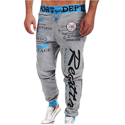 FIRMON-Jeans Herren 60er Jogginghose Casual Loose Lange Hose Brief Print Kordelzug Elastische Taille Hose Sport Sweatpants Trainingsanzug Gr. 36-41, Sky Blue 90s Hose