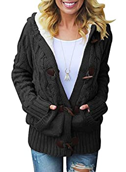 Asvivid Womens Chunky Button Up Hooded Sweater Solid Faux Fur Lined Cardigans Ladies Jacket Outwear with Pocket L Black
