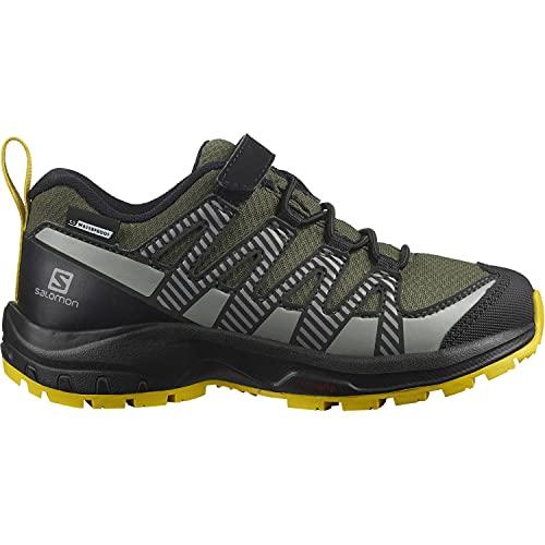 Salomon XA Pro V8 Climasalomon™ Waterproof (wasserdicht) Kinder Trailrunning-Schuhe, Grün (Olive Night/Black/Sulphur), 39 EU