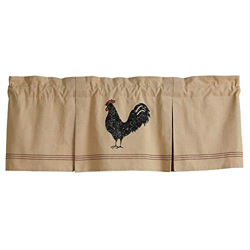 Hen Pecked Lined Pleated Valance Rooster