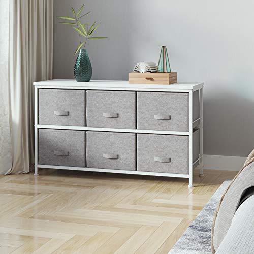 Joolihome - Cajonera de cajones con 2 niveles – 6 cajones de tela organizadora de tela, cajones de tela no tejida y escritorio E1 MDF para sala de estar, dormitorio, habitación de los niños (gris)