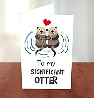Significant Otter Pun Card, Otter Pun Greeting Card, Valentine's Greeting Card, To My Significant Otter Pun Note Card, Love Pun Note Card, Blank Inside
