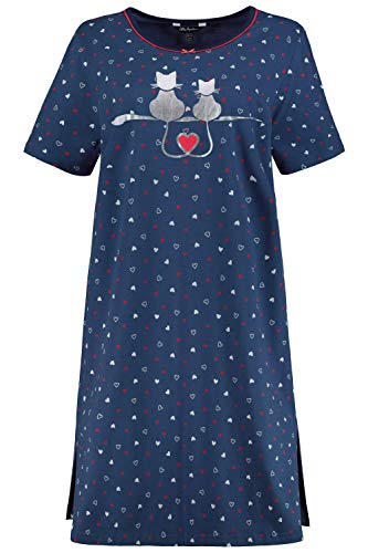 Ulla Popken Damen große Größen Bigshirt, 2er Pack, Herzen-Organic Nachthemd, Blau (Taubenblau 72789973), 50-52