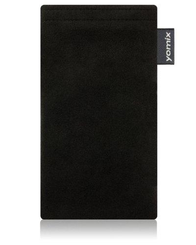 yomix CUSTODIA porta cellulare Hugo nero per Nokia Lumia 820 PureView in alcantara con funzione pulisci display grazie all?imbottitura in microfibra