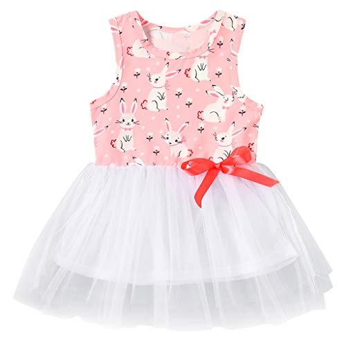 Moneycom❤Enfant en Bas âge bébé Enfants Filles Lapin Lapin Arc Tulle Patchwork Robes de Princesse Rose(18-24 Mois)